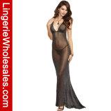 Schwarzer reizvoller Tiefer-v StutzenShimmery blosses Halter-Kleid-Kleid der Frauen