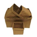 Almacenaje inmóvil del organizador de la cesta de Kraft del papel de fruta de la legumbre del alimento de la flor lavable del pan
