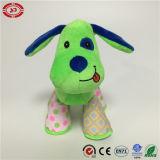 かわいい犬の子供のためのおかしい緑の多彩なギフトのプラシ天のおもちゃ