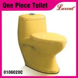 Cabinet d'aisance d'une seule pièce de salle de bains de qualité de prix bas de lavage à grande eau de bouton en céramique de dessus