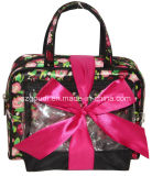 Rosafarbenes Clear PVC Canvas Travel Toiletry Cosmetic Carry Kits Bag mit Bow