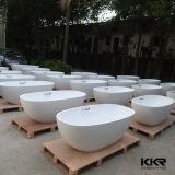 Vasca da bagno moderna della stanza da bagno, vasche di bagno indipendenti della resina di pietra ovale