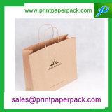 Anunció la bolsa de papel de Kraft de la manija del paquete de los favores de la boda del presente del papel del partido de las compras