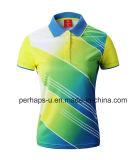 Изготовленный на заказ рубашка пола Badminton с логосом печатание