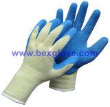 Gant de travail de polyester de 10 mesures, gant de jardin de latex