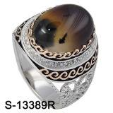 925 de zilveren Ringen van de Mensen van het Zirconiumdioxyde van Juwelen met Natuurlijk Agaat
