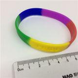 Logotipo segmentado arco-íris de Debossed da cor o bracelete do silicone