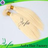 trame dessinée blonde de cheveux humains de Vierge indienne de la pente 7A double