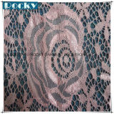 ピンクの花の衣服のアクセサリの伸縮性があるレースファブリックナイロンレース