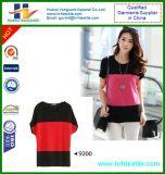 De Korte Koker van meisjes om de Modale T-shirt van de Kleur van het Contrast van de Hals