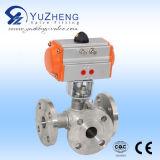 Válvula de esfera flangeada pneumática de 2 partes