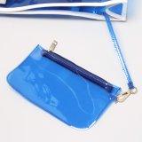 L'onde transparente imperméable à l'eau de sac à main de gelée de PVC marque avec des lettres la plage pour mettre en sac (A083)