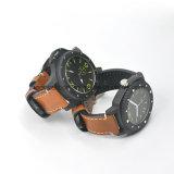 Componentes del reloj del carbón del nuevo diseño personal de la fibra de los hombres verdaderos de la manera