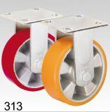 Rotes PU-Rad-steife Platten-Oberseite-Fußrolle