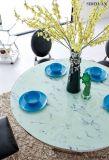 2016現代流行の基礎ガラスステンレス鋼の円形のダイニングテーブル