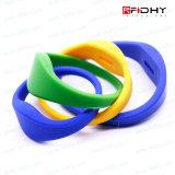 Etiqueta sin contacto de la venda de reloj del Wristband del silicón del espacio en blanco RFID de las tarjetas inteligentes