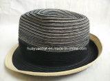 혼합 색깔 폴리에스테 끈목에 의하여 꿰매어지는 끈목 중절모 밀짚 모자