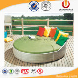 総合的な藤の表およびおおいの屋外の寝台兼用の長椅子(UL-TDOU)が付いている円形のソファーベッド