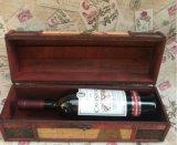 Solo rectángulo de regalo de madera del vino de la caja de embalaje del rectángulo del vino de la vendimia