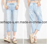 Form-Frauen-Kleidung-hellblaue Denim-Jeans-Harlan geerntete Hosen