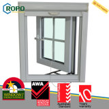 UPVC Hurricane Impact Glass Casement Window mit Grill Design