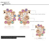 De veelkleurige Oorringen van de Nagel van de Pauw van het Kristal van CZ voor Vrouwen (er0019-c)
