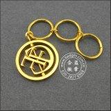 El anillo dominante de cuero, oro plateó el metal Keychain (GZHY-KA-070)