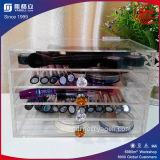 Organizador acrílico desobstruído da composição de 5 séries com botão de cristal