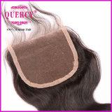 Chiusura di separazione libera poco costosa del merletto dei capelli del Virgin dell'essere umano di 100%