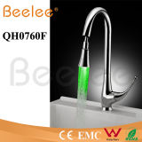 Self-Powered Single Handle Brass Chrome Brushed Nickle Pull Dowm Spray Kitchen LED Faucet