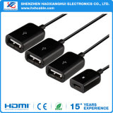 4 puertos USB micro OTG Charge Hub Cable conector Spliter para PC Tablet Smartphone