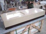 Partie supérieure du comptoir de marbre de construction préfabriquée de pierre de quartz de granit