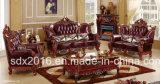 Sofà domestico di lusso di legno solido del cuoio della mobilia di Classci