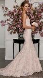Do trem longo da varredura da sereia do laço do Applique da luva de 0092 vintages vestido de casamento destacável do revestimento de Champagne