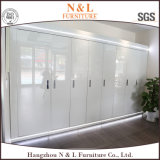 N et L garde-robe de meubles de chambre à coucher avec les graines en verre de porte coulissante et en bois