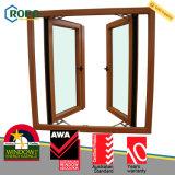 Woodgrain 색깔 UPVC/PVC 플라스틱 두 배 여닫이 창 유리창