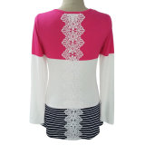 (P-608#) - Long Sleeve Shirt del Ladies con Lace Back
