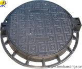 Housse en caoutchouc rond en fer ductile avec charnière de serrure