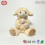 견면 벨벳 베이지색 미라 및 아기 귀여운 연약한 양 앉는 장난감