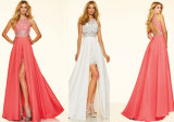 Coral, branco, vestido do baile de finalistas do azul de céu, vestido formal, vestido do banquete de casamento, trem da varredura do tafetá