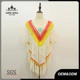 Maglione floreale del poncio del merletto della frangia di modo delle donne
