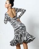 Платье танцульки леопарда/зебры сексуальное латинское для женщин