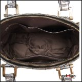 Saco de couro do teste padrão de pedra da tira para mulheres com ferragem dourada