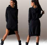 Vestido ocasional de la manga larga redonda del cuello del algodón del invierno de las mujeres