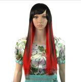 Le femmine alla moda abbagliano le parrucche diritte lunghe di scoppio accurato di punti culminanti di colore