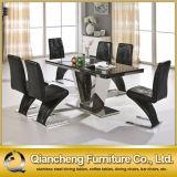 大理石の現代6 Seatersのステンレス鋼のダイニングテーブルおよび椅子