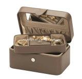 Caja de joyas de cuero con bandeja de caja de regalo