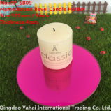 4mm Round Dark Rose Bevel Glass Mirror Candle Holder