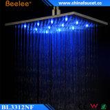 '' cabeça de chuveiro quadrada escovada niquelar do banheiro do diodo emissor de luz do aço 12 inoxidável