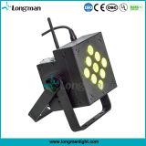 China 9 * 10W LED recargable plana PAR Luz Proveedor